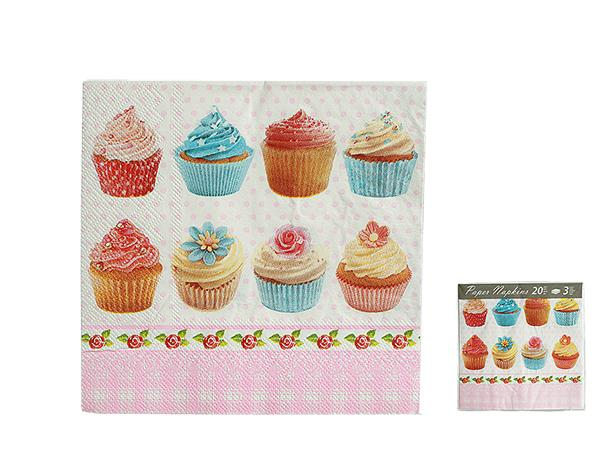 Papier-Servietten,<br> Cupcake, ca. 33 x<br>33 cm, 3-lagi