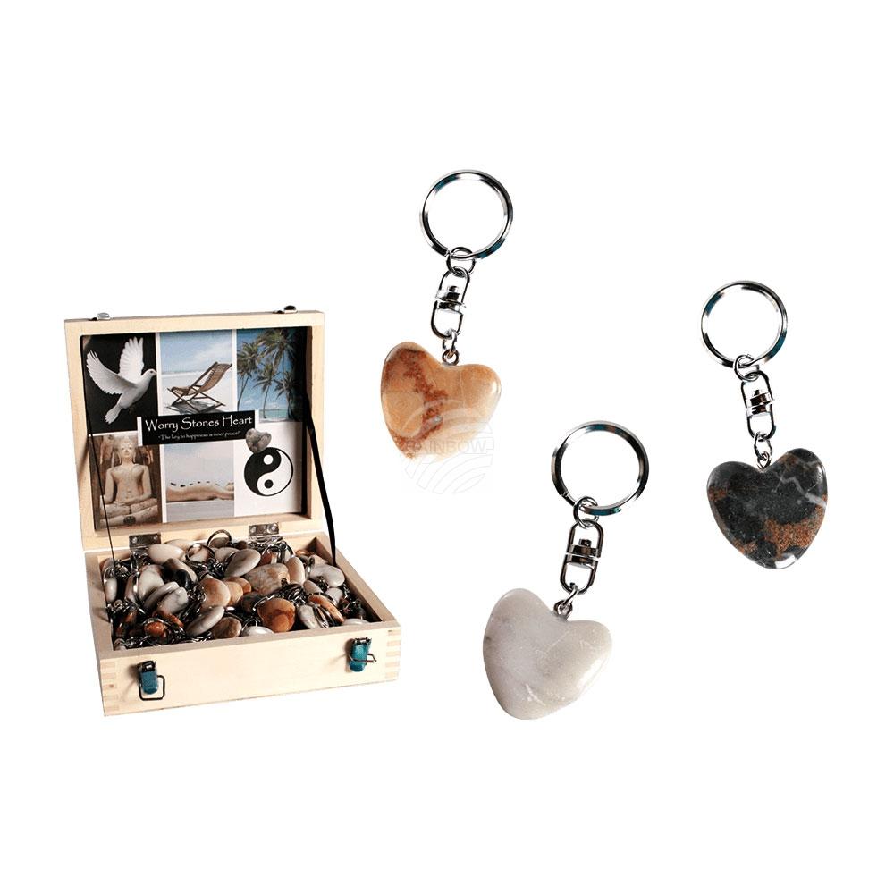 Schlüsselanhänger,<br> Worry Hearts, aus<br>Naturstein, c