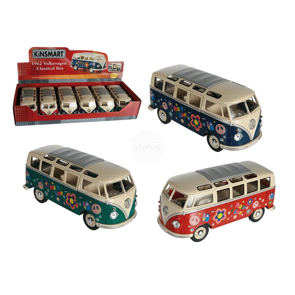 Metalen model<br> auto, VW T1 Bus<br>1962 - Flowerpower,