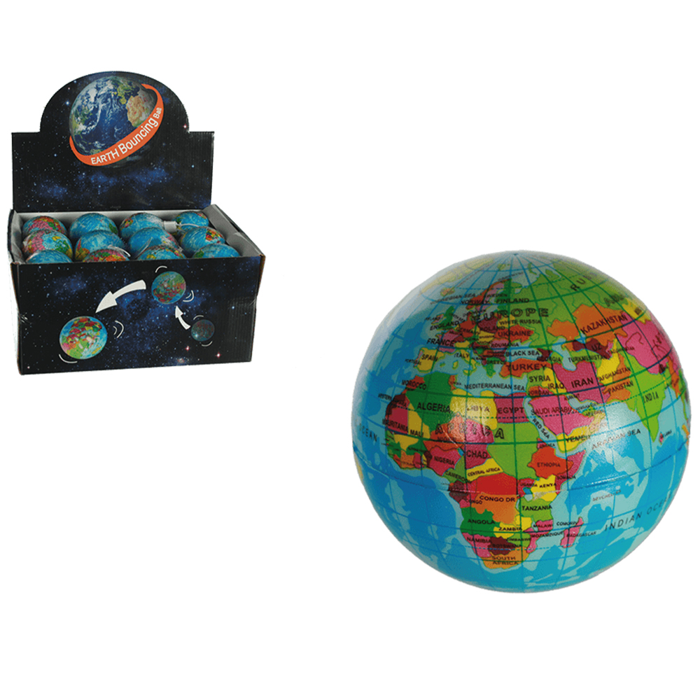 Soft bouncing<br> ball, Earth, ca.<br>7,5 cm, 24pcs per d