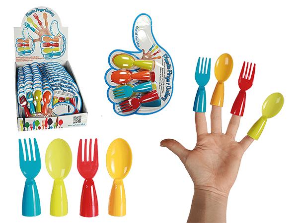 -Kunststoff<br> Fingerbesteck, ca.<br>8,5 cm, 4-farbig & 2