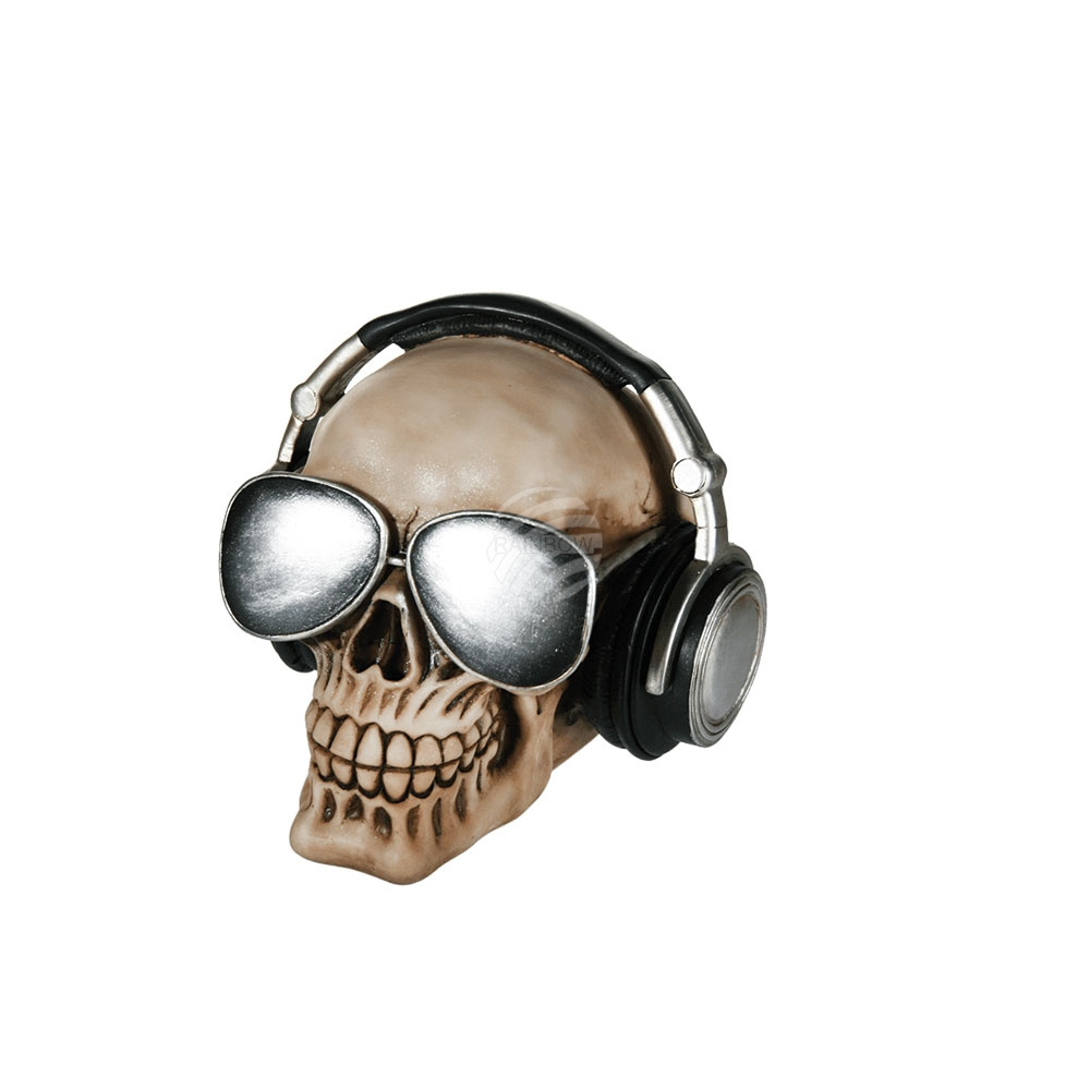 Polyresin savings<br> bank, Skull with<br>earphones & sun