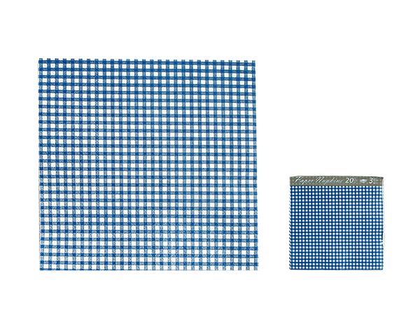 Papier-Servietten,<br> blau/weiß kariert,<br>ca. 33 x 33