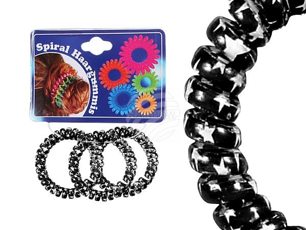 Spiral-Haargummis<br> schwarz, Sterne, Ø<br>ca. 5 cm, 3 S
