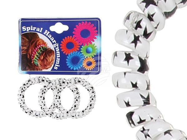 Spiral hair rubber<br> white transp.,<br>Star, Ø 5 cm,