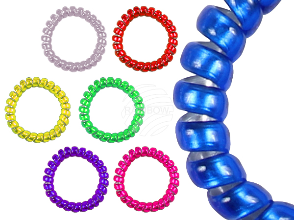 100 Spiral Hair<br> Bands transparent<br>in different