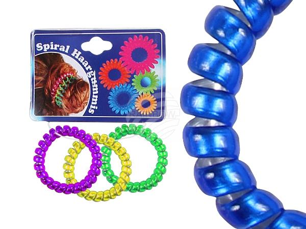 Spiral-Haargummis<br> bunt transp.<br>glänzend, Ø ca. 5 c