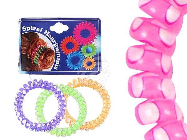 Spiral-Haargummi<br> bunt, weiße<br> Punkte, Ø ca. 5 ...