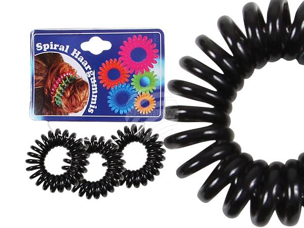 Spiral hair rubber<br> black, Ø 3 cm, 3<br>pcs hanger