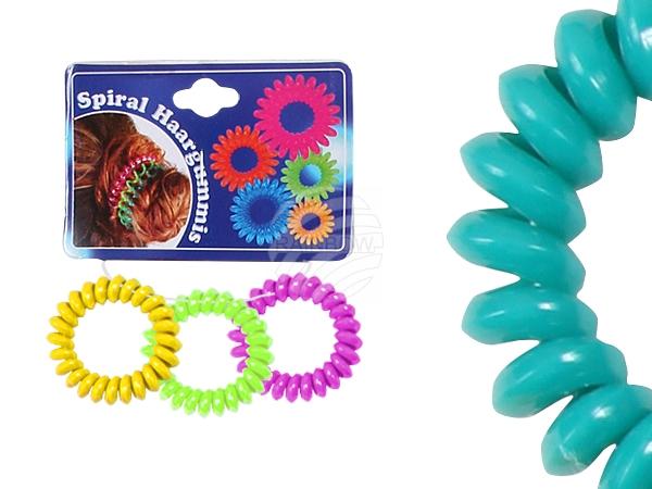 Spiral-Haargummi<br> mehrfarbig, Ø ca.<br>4 cm, 3 Stk Hän