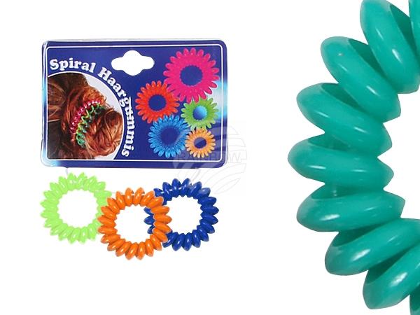 Spiral scrunchy<br> colorful, Ø 4 cm,<br>3 pcs hanger