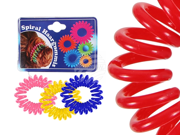Spiral hair rubber<br> multicolored, Ø 2<br>cm, 3 pcs Hän