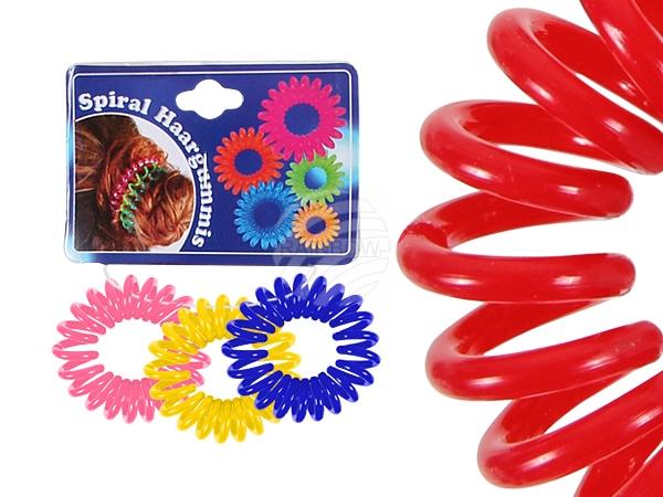 Spiral-Haargummi<br> mehrfarbig, Ø ca.<br>2 cm, 3 Stk Hän