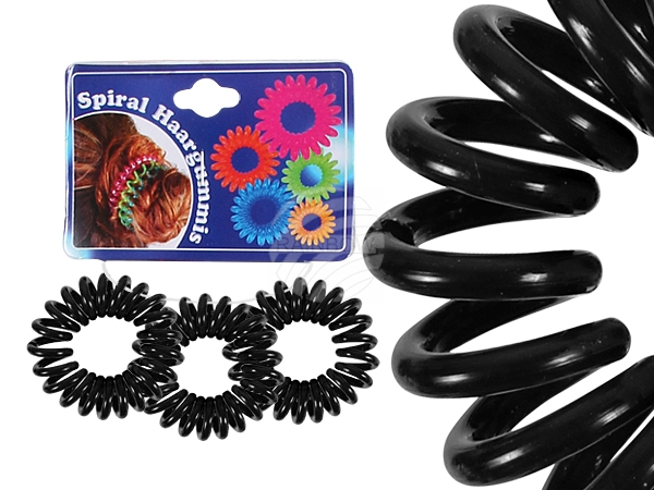 Spiral hair rubber<br> black, Ø ca. 2 cm,<br>3 pcs hanger