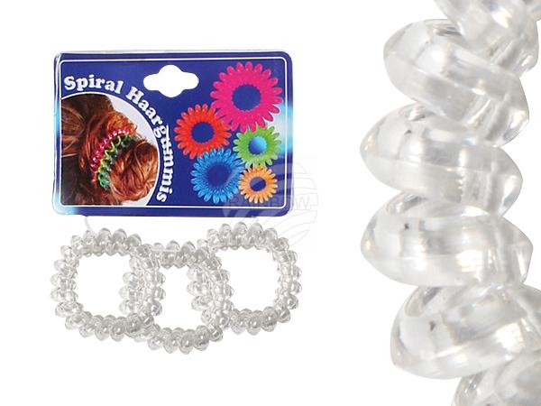 Spiral hair rubber<br> transparent, Ø ca.<br>3 cm, 3 pcs
