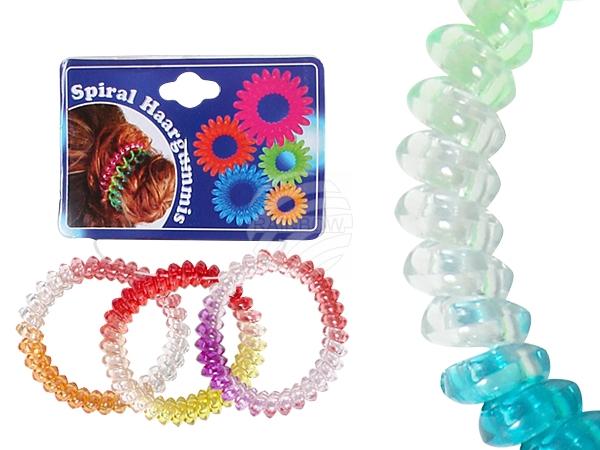 Spiral-Haargummi<br> bunt,<br> transp.,Farbver., ...