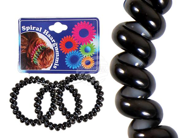 Spiral-Haargummi<br> schwarz, weiß<br>Innen, Ø ca. 4 cm,