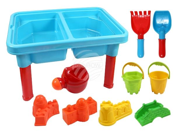 Sand Spiel Tisch<br> mit 2 Eimern,<br>Rechen, Schaufel, G
