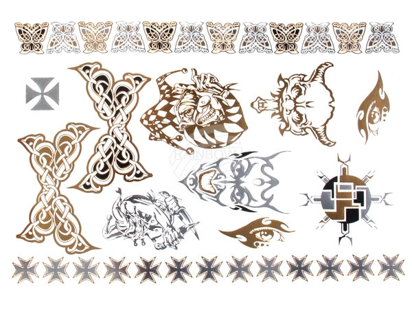 Metal Tattoo Flash<br> Tattoos gold<br>metallic silver