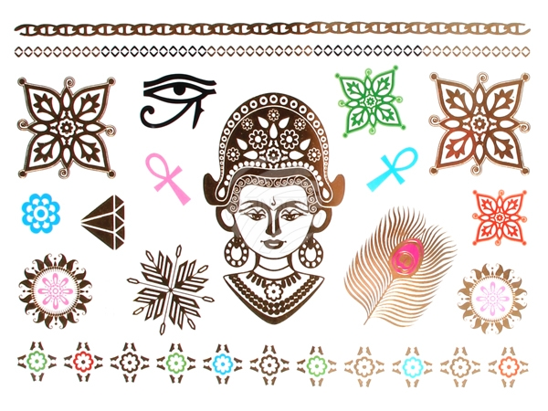Metal Tattoo Flash<br> Tattoos gold<br>metallic silver