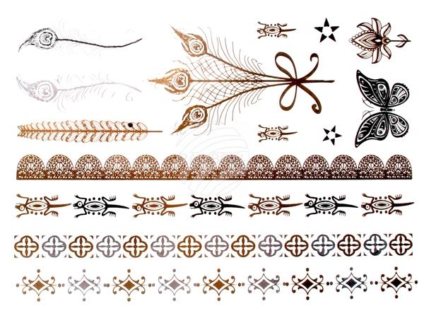Tatouage de métal<br> flash Tatouages<br>or métallique